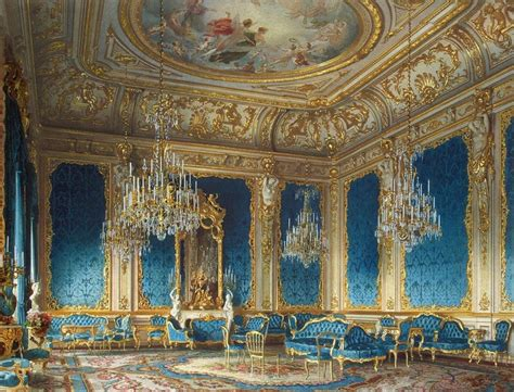 The blue drawing room inside the Palace of Baron Stieglitz