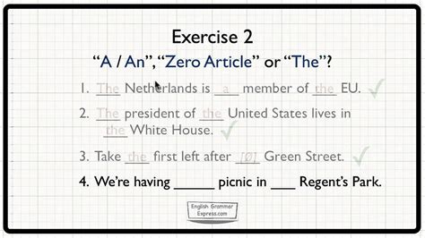 Zero Article & 'The': Special Uses - Exercise 2 - YouTube